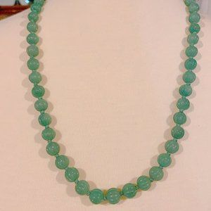 Vintage green jade necklace
